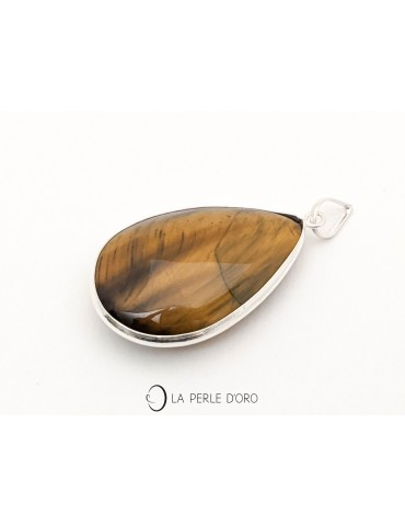 Tiger eye drop, silver pendant