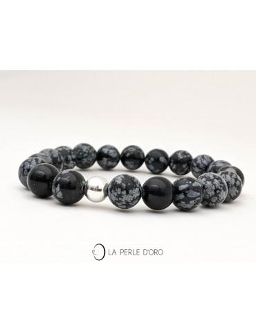 Obsidienne neige, Bracelet...