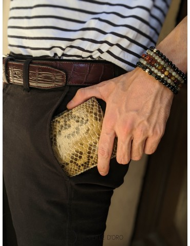 Crocodile skin leather belt