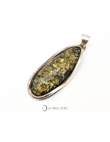 Green Amber, silver pendant