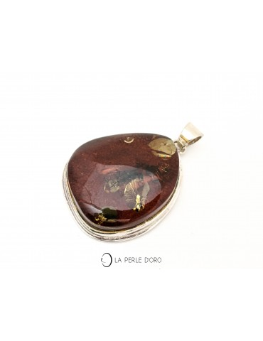 Amber, silver pendant