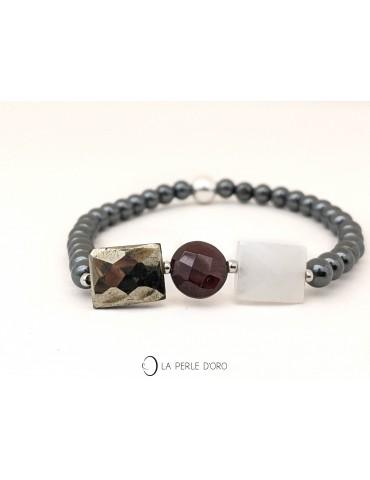 Pyrite and garnet bracelet,...