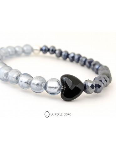 Coeur en Onyx sur Cristal...