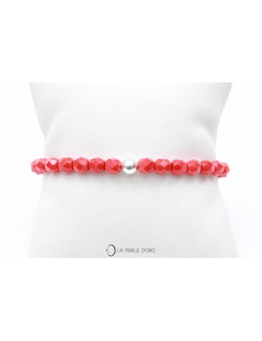 """Bracelet en verre olives facettées 6mm, Collection """"Le Lien de Protection  rouge"""""""