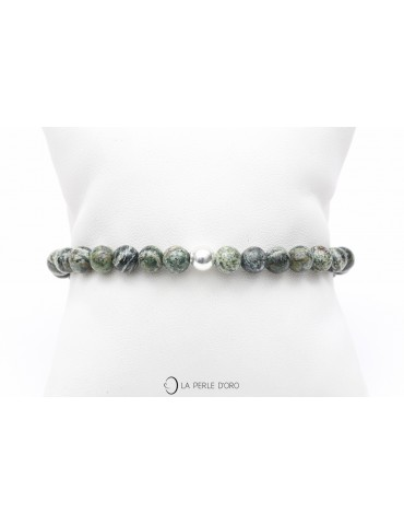 Jaspe vert zèbre, Bracelet 6mm, Collection Messager