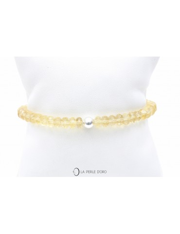 Quartz jaune facetté rondelles, Bracelet 6mm, Collection Messager