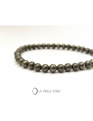 Pyrite 4mm, perles rondes,...