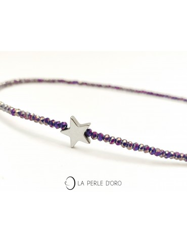 Hématite silver, étoile sur...