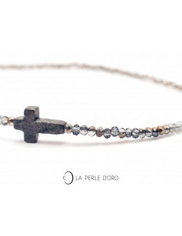 Pyrite cross on Bohemian...