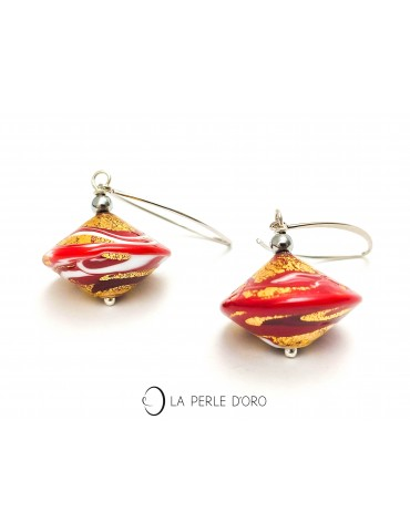 Red Murano glass silver earrings