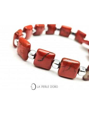 Jaspe rouge, carrés 1cm,...