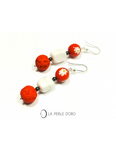 Howlite and Red Murano...