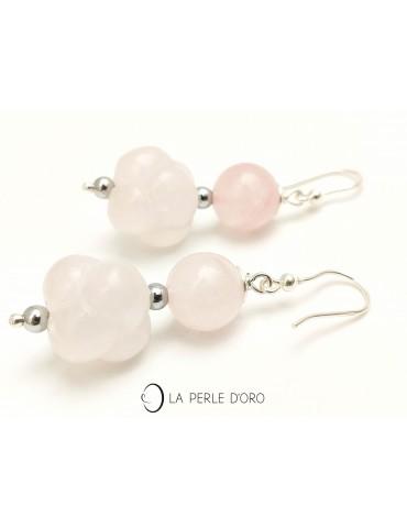 Pink quartz silver earings
