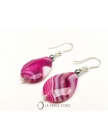 Agate crazy rose, Boucles...