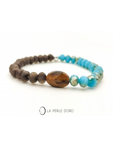 copy of Bracelet, Bohemian Cristal, tiger eye, Messager Collection
