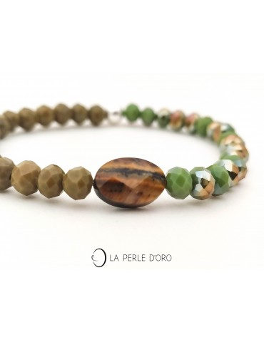 Bracelet, Bohemian Cristal, tiger eye, Messager Collection