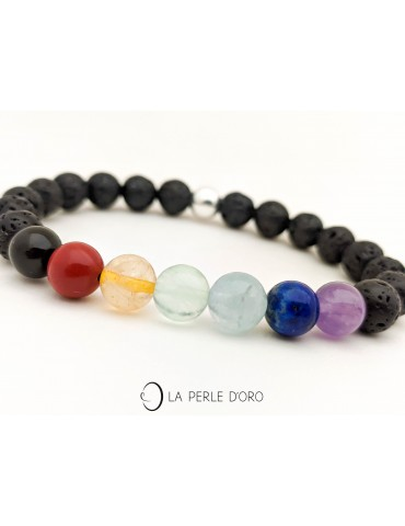7 chakras on lava bracelet