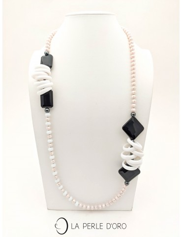 Long necklace, Onyx, Murano...