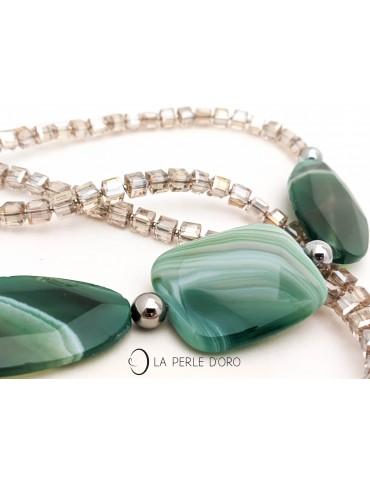 Crazy agate Long necklace,...
