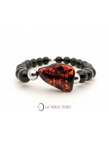 Black agate and amber bracelet