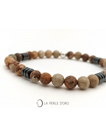 Wood jasper bracelet and...