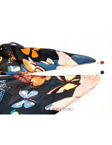 Melted silk scarf, butterflies