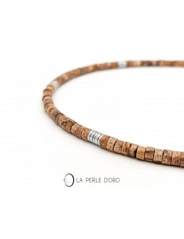 Wood jasper short necklace,...