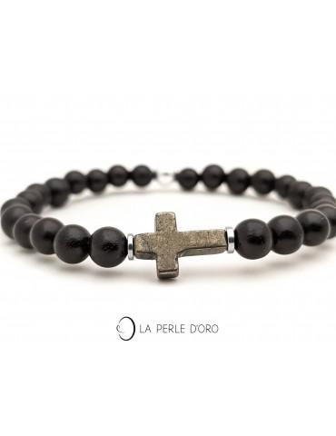 Croix en Pyrite sur bois...