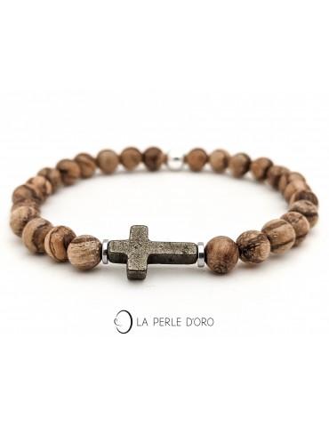 Croix en Pyrite sur bois du...