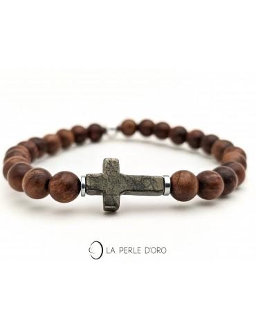 Croix en Pyrite sur bois de...