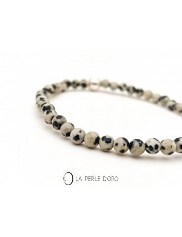 Jaspe dalmatien 4mm, perles...