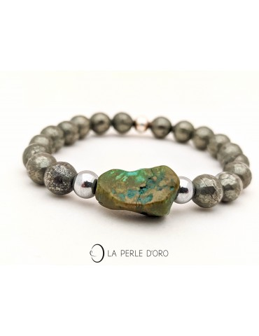 Pyrite and Turquoise bracelet