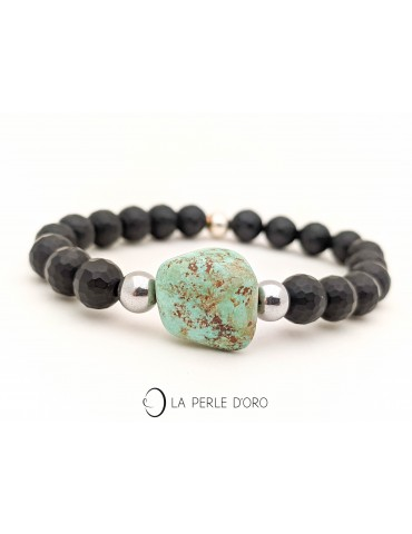 Turquoise and black agate...
