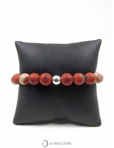 Jaspe rouge mat mélangé 10mm, Bracelet Collection Homme et Femme