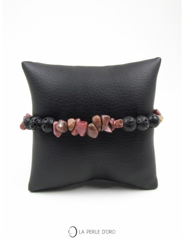Rhodonite et Lave 8mm, Bracelet Collection Homme