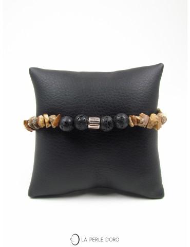Jaspe boisé et Lave 8mm, Bracelet Collection Homme