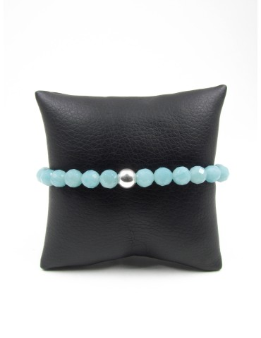Amazonite facettée, Bracelet 7mm, Collection Homme