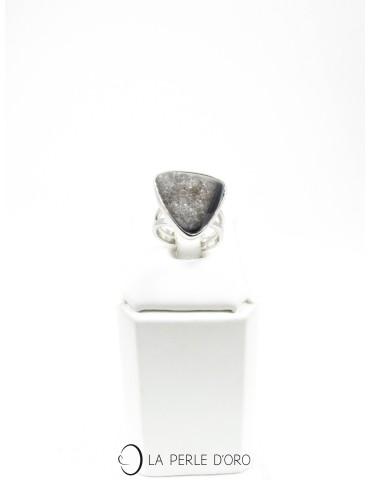 Agate grise cristallisée, Bague en métal argenté