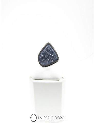 Agate noire cristallisée, Bague en métal argenté