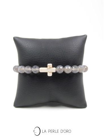 Howlite, croix sur Agate grise facettée 8mm, Bracelet Collection Homme et Femme