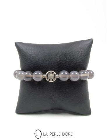 Agate grise, Bracelet 10mm...
