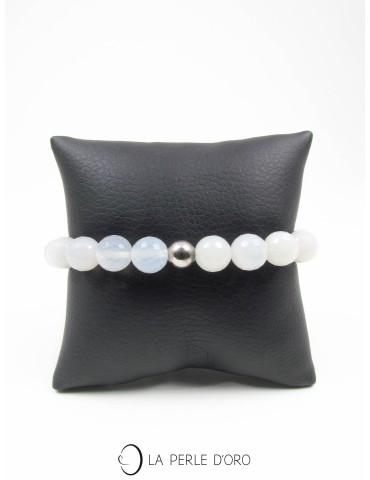 Agate calcédoine blanche facettée 10mm, Bracelet Collection Homme et Femme