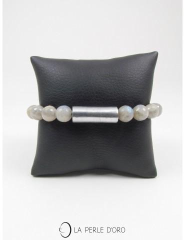 Labradorite facettée 10mm et tube aluminium, Bracelet Collection Homme