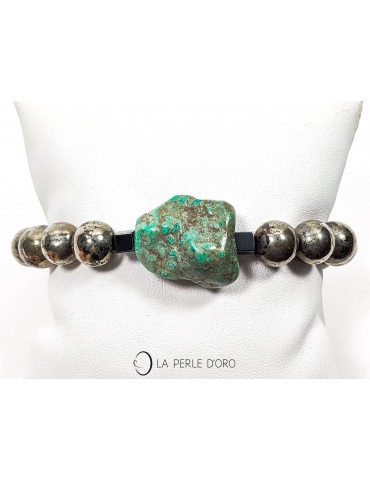 Turquoise and pyrite bracelet
