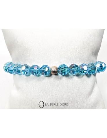 Cristal de Bohème turquoise irisé, perles 8mm, Bracelet Collection Léa