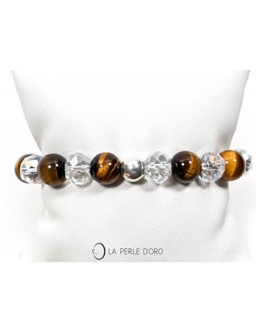 Oeil de Tigre et cristal de Bohème, Bracelet 10mm
