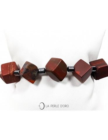 Jaspe rouge cubes 12mm et hématite, Bracelet Collection Femme