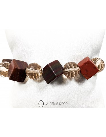 Jaspe rouge cubes 12mm et cristal de Bohème 10mm, Bracelet Collection Femme