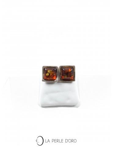 Amber silver earings