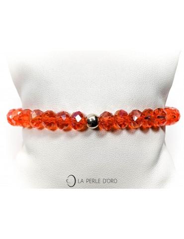 Cristal de Bohème orange, rondelles 8mm, Bracelet Collection Léa